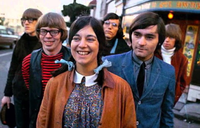 The 1965 lineup for the incarnation of Jefferson Airplane that recorded the band's first album was (from left to right) Paul Kantner, Jack Casady, Signe Anderson, Jorma Kaukonen, Marty Balin, and Skip Spence.