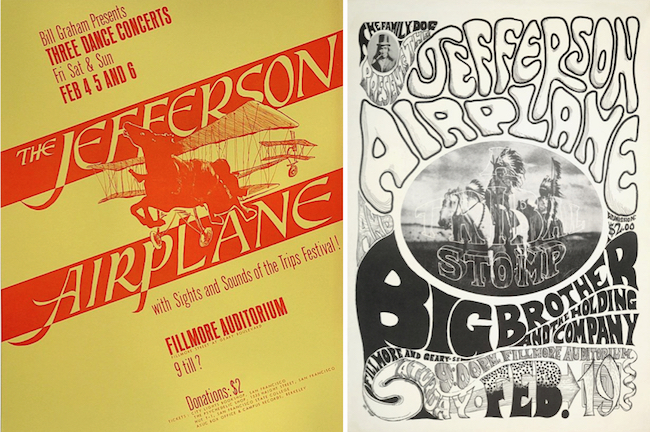 In February of 1966, Jefferson Airplane headlined the first two non-benefit shows at the Fillmore Auditorium for two different promoters—Bill Graham (left) and Chet Helms of the Family Dog (right).
