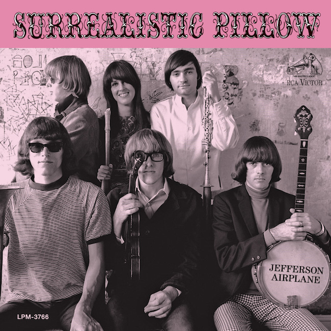 """The Airplane's second album, released in 1967, rose to No. 3 on the Billboard charts. Signe Anderson was replaced by Grace Slick (top center), who would provide the album's biggest hit, """"White Rabbit."""" Skip Spence was replaced by Spencer Dryden (bottom right). Herb Greene shot the photo for the album's cover, while Balin is credited with its design."""