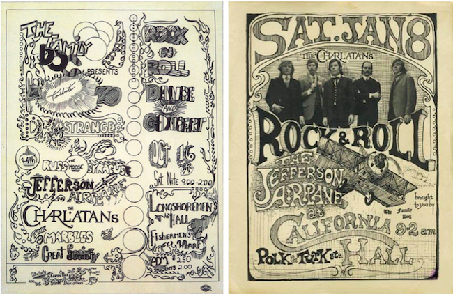 In late 1965 (left) and early 1966 (right), the Airplane often shared the bill with the Charlatans, who were on the scene a bit earlier than Jefferson Airplane but were soon eclipsed by the Airplane's fan base and acclaim.