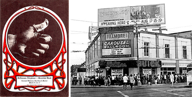 "During the first half of 1968, Jefferson Airplane and the Grateful Dead tried to run the Carousel Ballroom themselves, often sharing billing (as seen in this Alton Kelley poster) to keep the enterprise afloat. When Bill Graham took it over in the summer of 1968, he kept the Carousel sign and put one bearing the words ""Fillmore West"" above it."