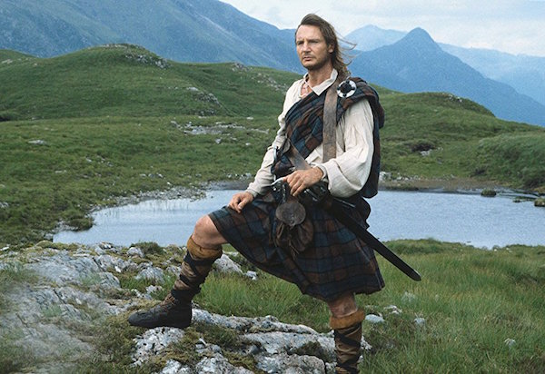 "Liam Neeson as the titular character in a still from the 1995 film ""Rob Roy."""