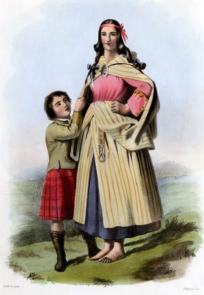 A 19th-century illustration shows a woman in an earasaid, or arisaid, in a <em>lachdan</em>, or saffron-colored, fabric, and her son is depicted in the Matheson clan tartan. This R.R. Mclan illustration appeared in James Logan's <em>The Clans of the Scottish Highlands</em>, published in full in 1845. (Via WikiCommons)