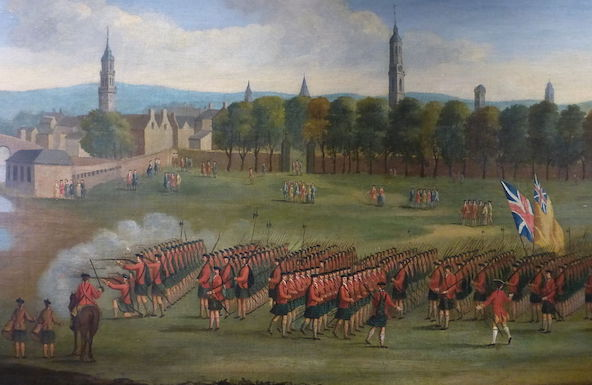 Detail from a 1758 painting showing a battalion of Black Watch recruits raised for service in North America being reviewed. (From the Black Watch Regimental Museum, via WikiCommons)