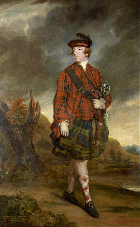 In 1765, Sir Joshua Reynolds painted John Murray, 4th Earl of Dunmore, in traditional Highlander dress, even though wearing such clothing was banned by the Act of Proscription in 1747. (Via WikiCommons)