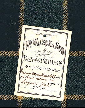 A tartan with a Wilsons of Bannockburn label. (Courtesy of the Scottish Tartans Authority)