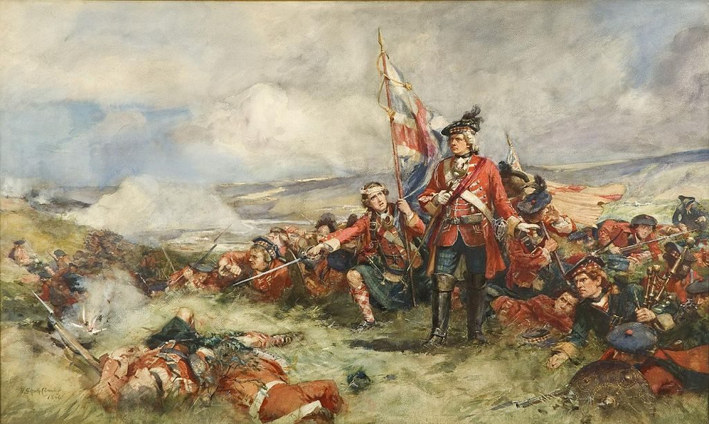"William Skeoch Cumming's 1894 painting, ""The Royal Highland Regiment at Fontenoy, 1745"" shows Highlanders in trews, or trousers, and kilts, all in the Black Watch tartan. (Via WikiCommons)"