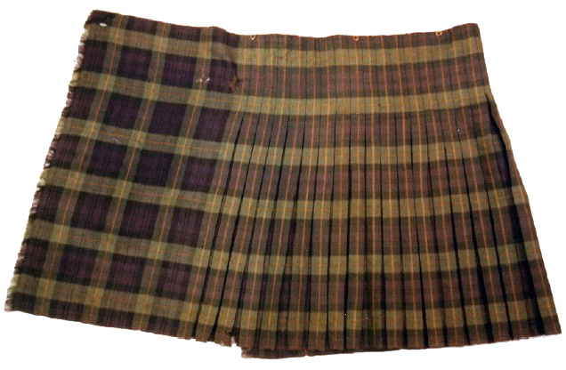 A kilt worn by the 92nd Regiment of Foot, or the Gordon Highlanders, circa 1794. It was made from 3.5 yards of material with 23 box pleats, button fastenings, and no lining. (©Peter Eslea MacDonald, Tartan Historian)