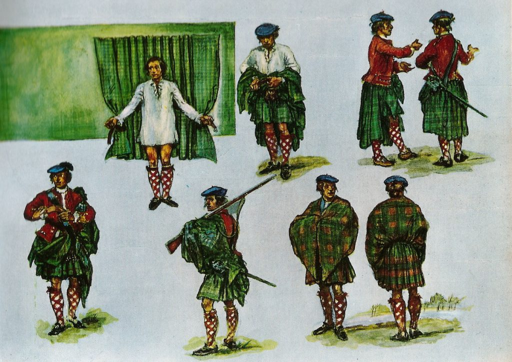 """In the popular imagination, the old-time Highlander donned his plaid by placing his belt on the ground, pleating the plaid over it, then lying down on it and doing up his belt,"" wrote late tartan expert Jamie Scarlett. (Courtesy of the Scottish Tartans Authority)"