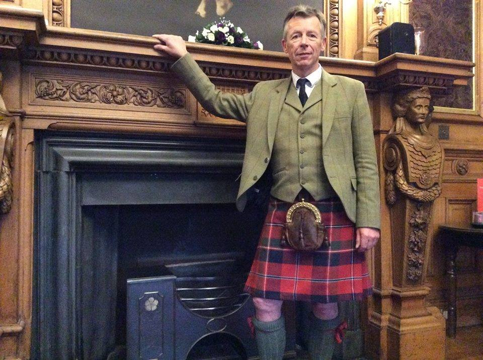 "Above: Scottish Tartans Authority historian Peter MacDonald wears a kilt in his handwoven reconstruction of the MacDonald of Glenaladale tartan. (Photo credit: Chas MacDonald) Top: In ""Outlander,"" Sam Heughan plays Jamie Fraser, a Scottish Highlander who fights in the last of the Jacobite Risings in 1745."