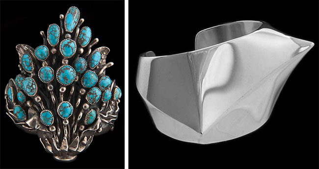 "Above: Left, the <a href=""https://americanart.si.edu/artwork/floral-spray-bracelet-56814"" target=""_blank"">Floral Spray bracelet</a> by Frank Sr., circa 1950, and the <a href=""https://americanart.si.edu/artwork/asymmetry-bracelet-56815"" target=""_blank"">Asymmetry bracelet</a> by Frank Jr., circa 1960, are both in Smithsonian collection. Via the Smithsonian American Art Museum."
