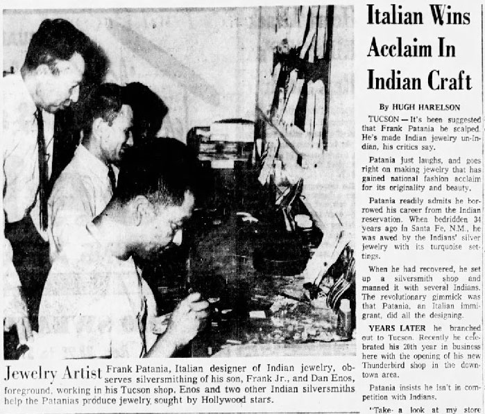 This 1958 article showed Frank Sr. in the workshop with his son and other jewelry craftsmen.
