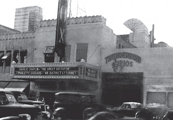 The Thunderbird Curios Shop in Tucson is seen to the right of the Fox Theater marquee, circa 1937.