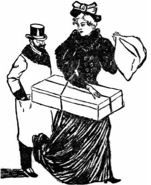 "An 1896 newspaper illustration shows a ""shop girl"" being stalked by a masher."
