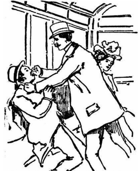 A husband defends his wife's honor by punching a masher on a Chicago streetcar in March 1901.