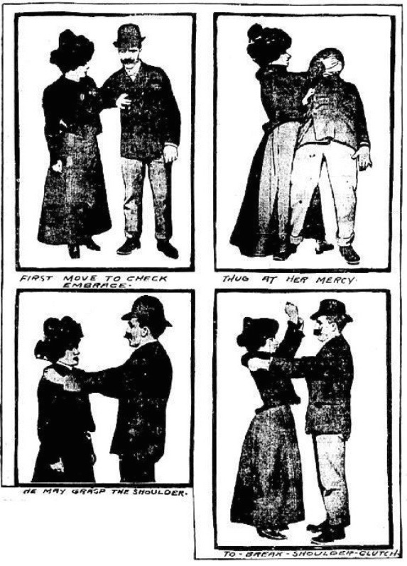 "J.J. O'Brien, who claimed to be a police inspector in Nagasaki, Japan, wrote a January 1901 article, with photographs, for ""The New York Evening World"" describing how a woman could employ jiu-jitsu for self-defense."