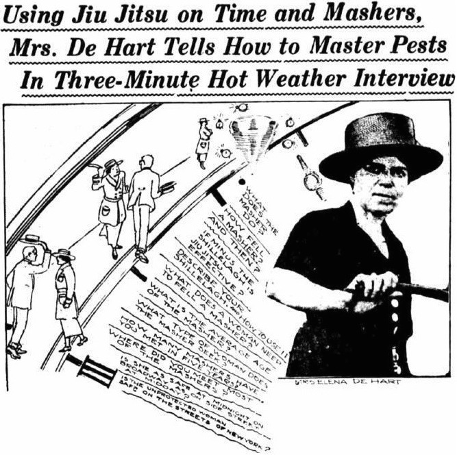 "A 1921 ""New York Evening World"" photo illustration of Eleanor De Hart, who became an anti-masher crusader after her husband died in 1916. This sensational August 17, 1921, interview is the first time De Hart was described as using jiu-jitsu."