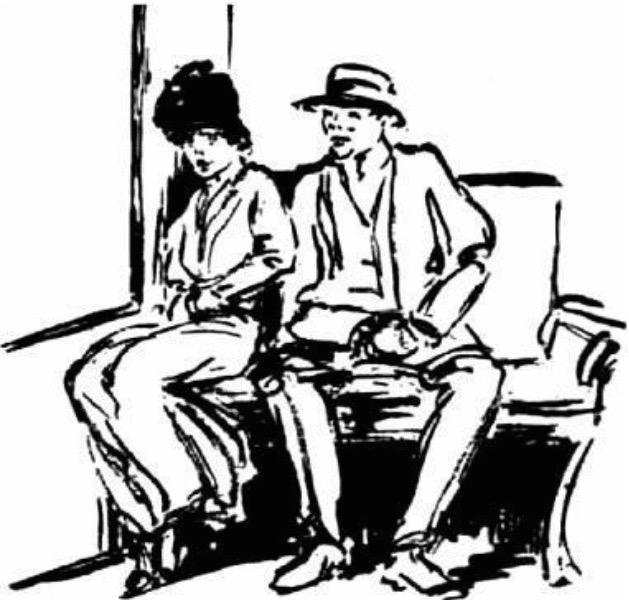 "A 1916 ""Evening World"" illustration shows a masher both manspreading and edging closer to a woman on a streetcar. Little does he know she's a crusader plotting his arrest."