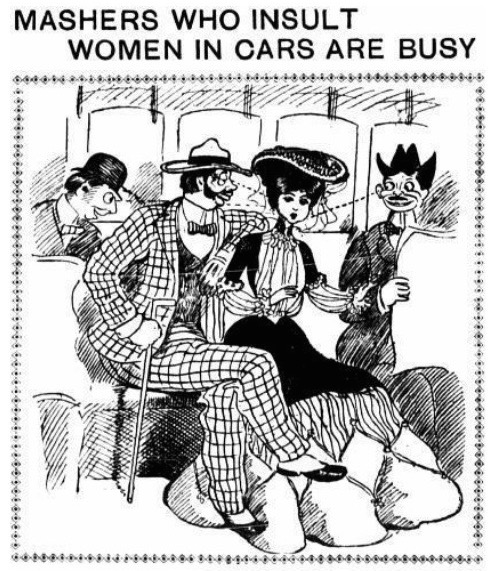"In October 1902, ""The New York Evening World"" compiled letters from women who'd been harassed on the ""L"" streetcars."