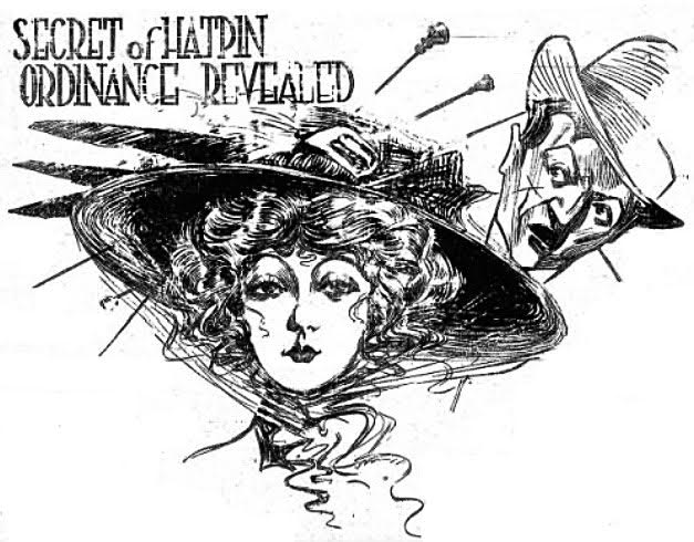 "The illustration for a May 1, 1910, anti-hatpin article took up all seven columns at the top of Page 60 in the ""Indianapolis Star."""