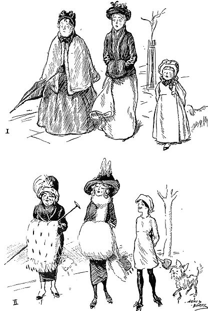 "A 1911 ""Punch"" magazine illustration depicts the changes in Western fashion since 1901. The modern women wore bigger feathered hats, oversized fur muffs, and ankle-revealing skirts."