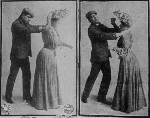 "Photos from a 1904 edition of the ""San Francisco Sunday Call"" shows the hatpin defense method in action."