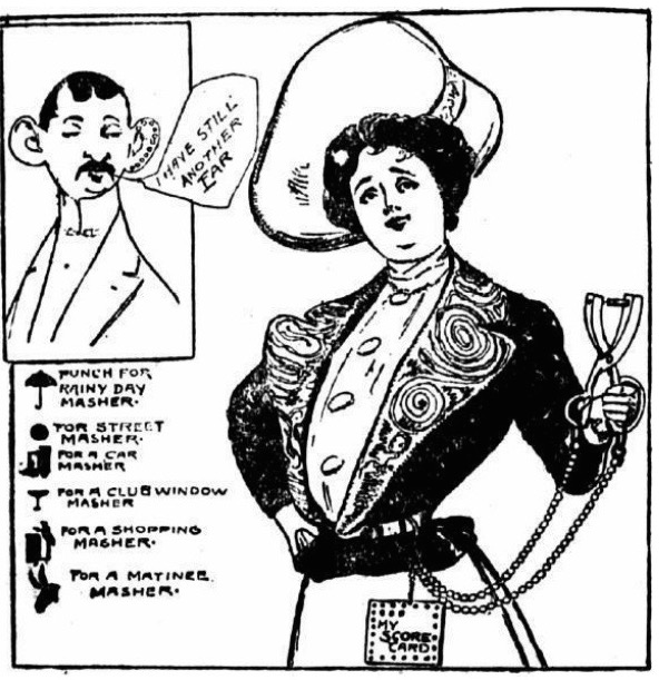 "In 1903, a woman was accused of cutting of a masher's ear, and this ""New York Evening World"" cartoon envisioning a masher ""ear punch"" makes light of the incident."