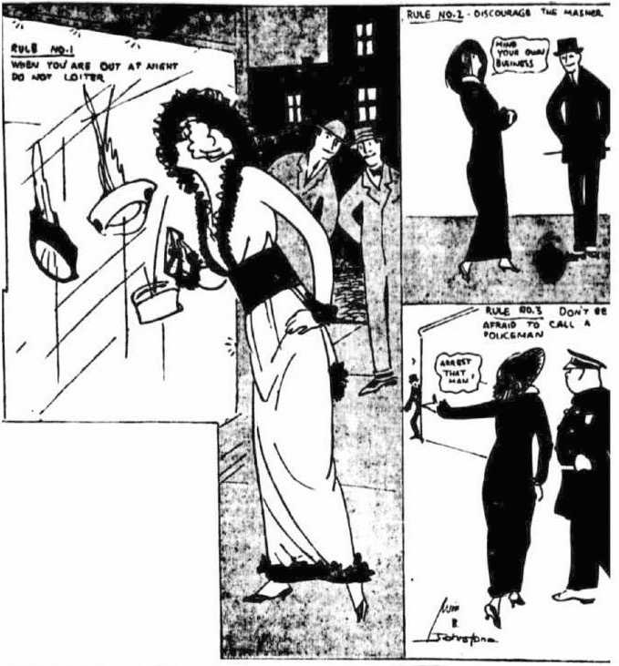 "For an October 21, 1914, ""New York Evening World"" article entitled ""Girls With R.S.V.P. Eyes Invite Mashers,"" well-known reporter Marguerite Mooers Marshall interviewed a magistrate about what women could do about ""the masher pest."""