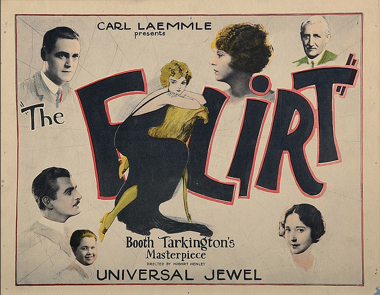 "A lobby card for the silent film ""The Flirt,"" which was based on Booth Tarkington's 1913 novel. The movie premiered at theaters in December 1922."