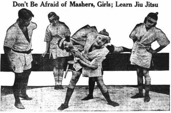 A 1918 newspaper photograph shows women in New York Police Department sessions that demonstrated jiu-jitsu as self-defense.