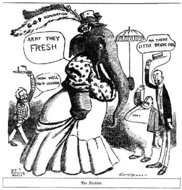 "An August 1906 political cartoon from ""The Salt Lake Herald"" depicts three men seeking the GOP presidential nomination as eager mashers. At the time, the Republican Party was the anti-slavery party."