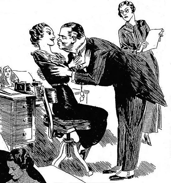 A 1930s newspaper illustration shows a boss attempting to kiss his subordinate. (Via HiLo Brow)
