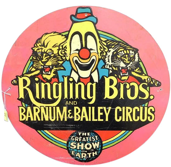 A medallion sign for Ringling Bros. and Barnum & Bailey Circus, circa late 1960s to early 1970s.