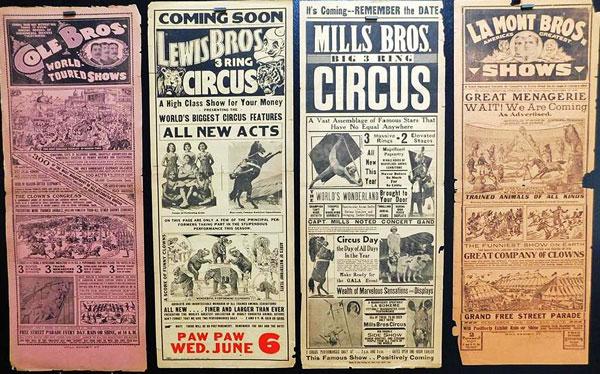 A group of circus broadsides from the turn of the 19th and 20th centuries.