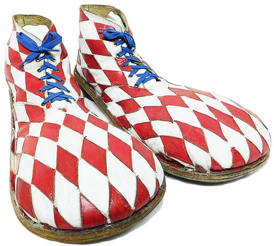 Shoes worn by Blenko the Clown, circa mid-20th century.