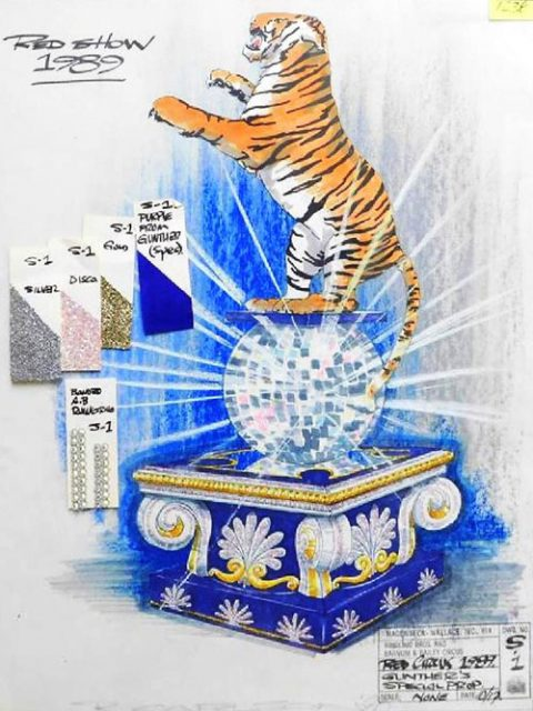 A conceptual drawing by Hagenbeck Wallace, Inc. of a Gunther Gebel-Williams' prop for Ringling Bros. and Barnum & Bailey Circus, 1989.