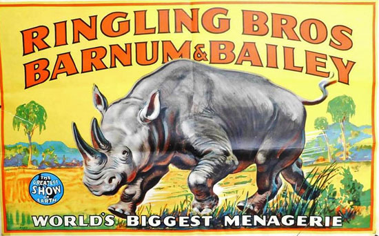 A Ringling Bros. and Barnum & Bailey poster from the mid-20th century.