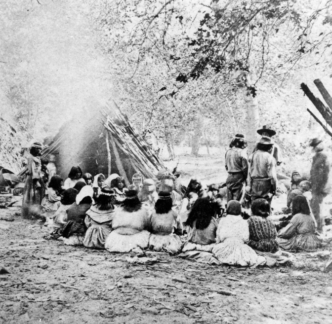 "A Native American gathering near a cedar-bark u'macha near the Merced River in the Yosemite Valley. Photo taken by Eadweard Muybridge, 1872. Via the <a href=""http://imgzoom.cdlib.org/Fullscreen.ics?ark=ark:/13030/kt0290171t/z1&amp;&amp;brand=oac4"" target=""_blank"">Yosemite Museum</a>, National Park Service."
