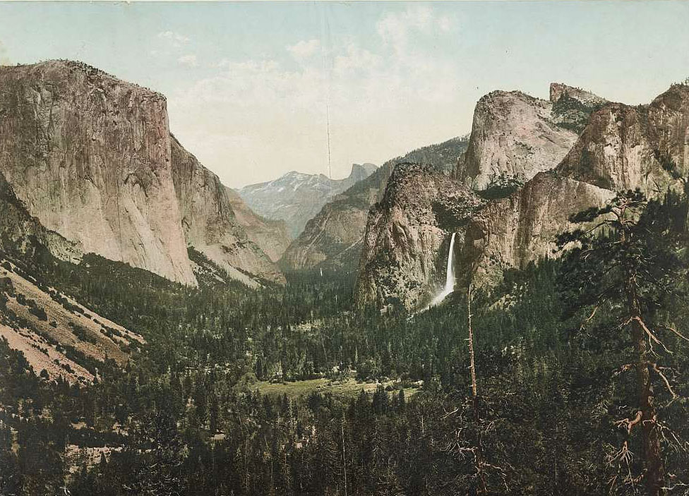"""Yosemite Valley from Artists' Point"" photochrom print by William Henry Jackson, circa 1898. Via the Library of Congress."