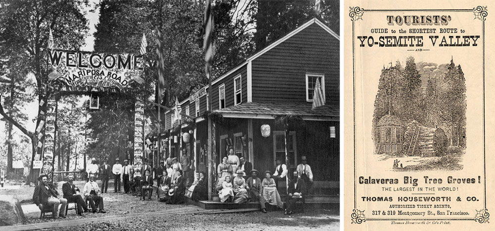 """Left, a gathering at the Coulter and Murphy Hotel in Yosemite Valley celebrating the opening of Mariposa Road, 1875. Via the <a href=""""http://www.oac.cdlib.org/ark:/13030/kt9r29q73k/?brand=oac4"""" target=""""_blank"""">Mariposa County Library</a>. Right, the cover of a tourist map to Yosemite, circa mid-19th century."""