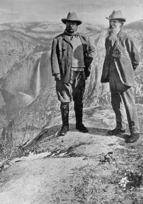 President Theodore Roosevelt and naturalist John Muir at Glacier Point in Yosemite, 1903. Muir's views on conservation and Native American removal influenced the highest level of federal politics.