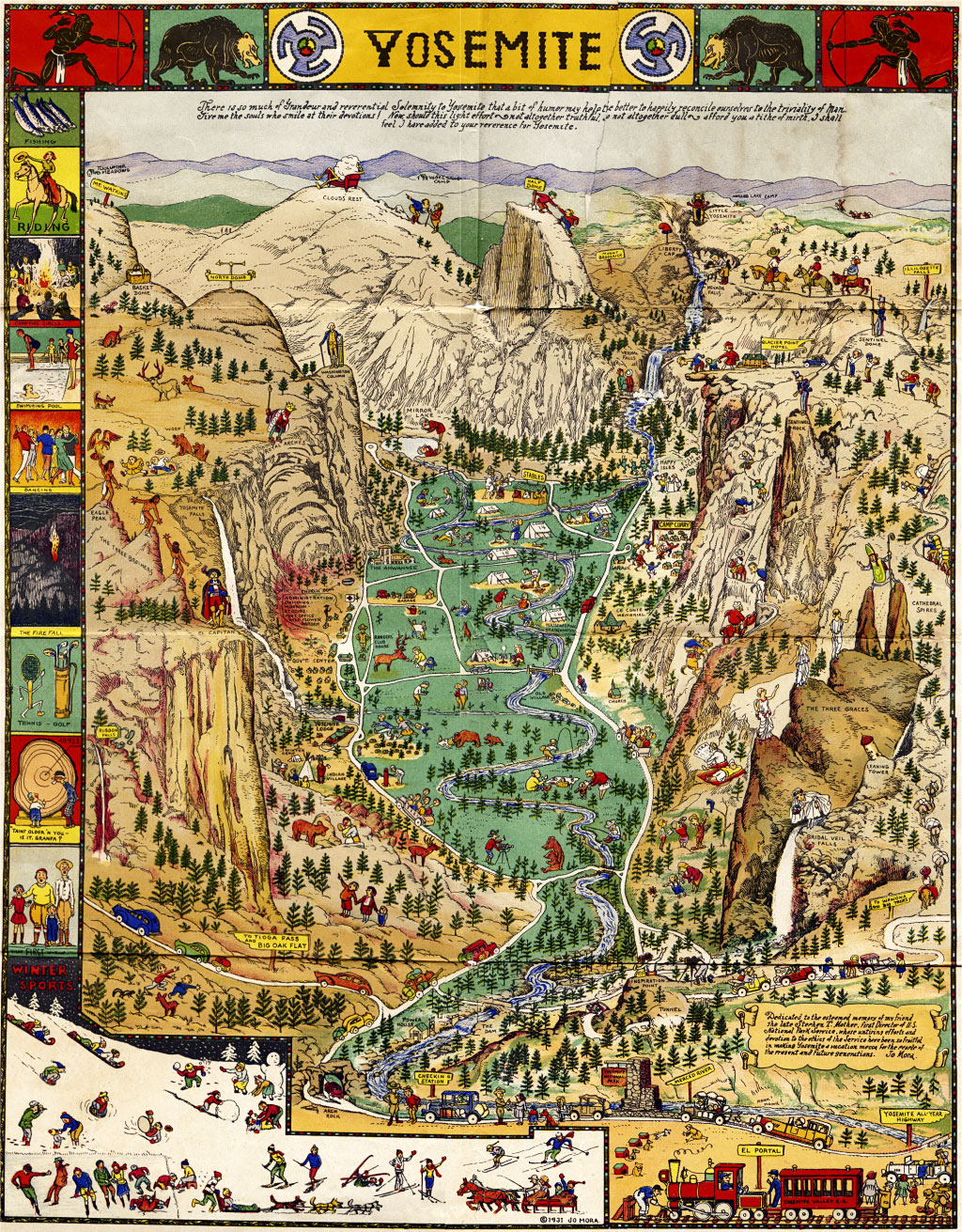 This map of the Yosemite Valley illustrated by Jo Mora, circa 1940s, shows how indigenous symbols were used to advertise the park even as Native American residents were being forced out. (Click to enlarge.)