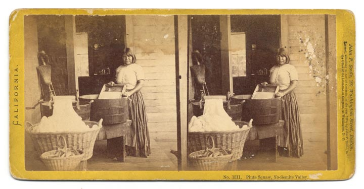 A stereoview of a Paiute woman doing laundry in the Yosemite Valley. Photo by John P. Soule, 1870. Via the California State Library.