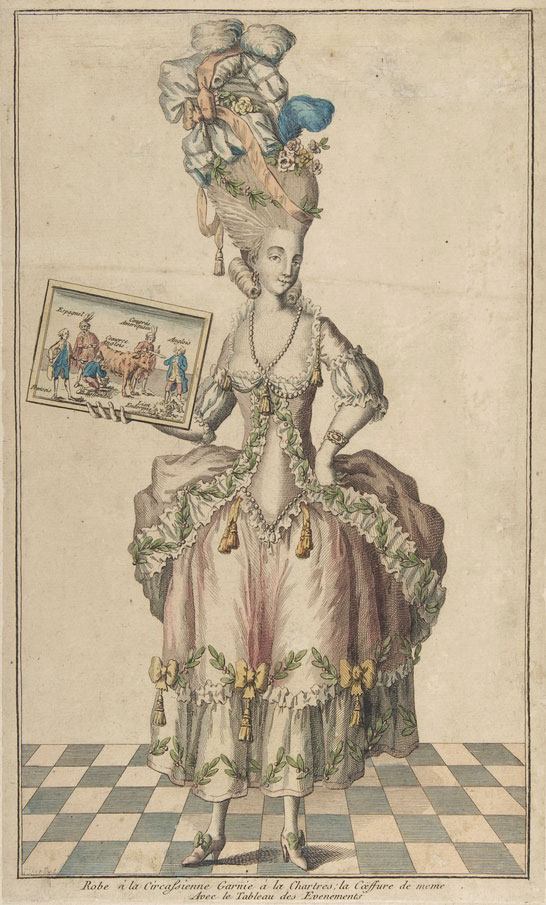 A fashion plate depicting a dress and headpiece, including an over-the-top pouf or fontage, circa 1770s. (Courtesy the Metropolitan Museum of Art)