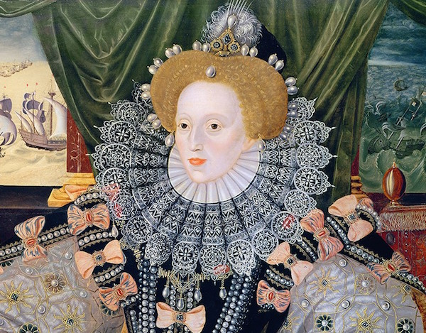 Queen Elizabeth I, depicted in a detail of the Armada Portrait, circa 1588, started using lead makeup to hide her smallpox scars, prompting a trend that likely led to her death and those of many of her subjects. (Via WikiCommons)