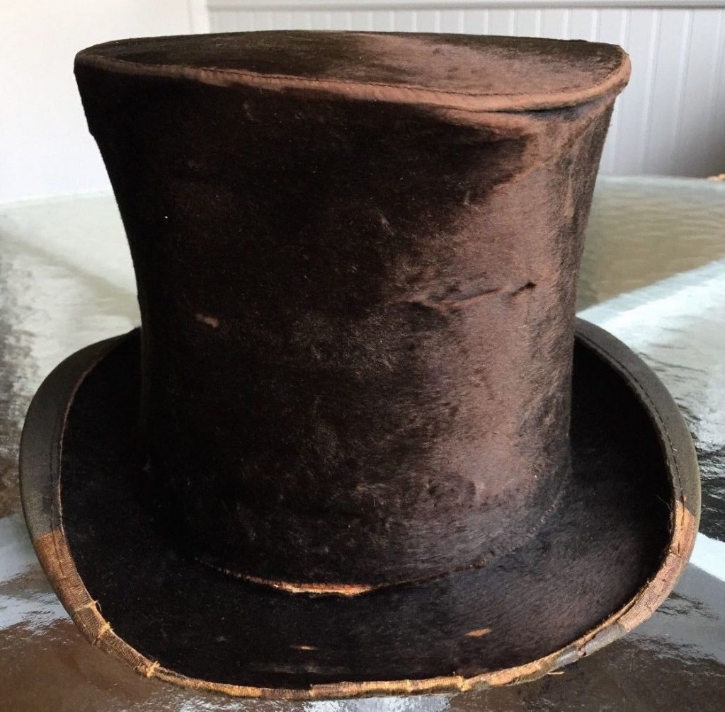 The felt used to make this vintage top hat was probably processed with mercury. (Via eBay)