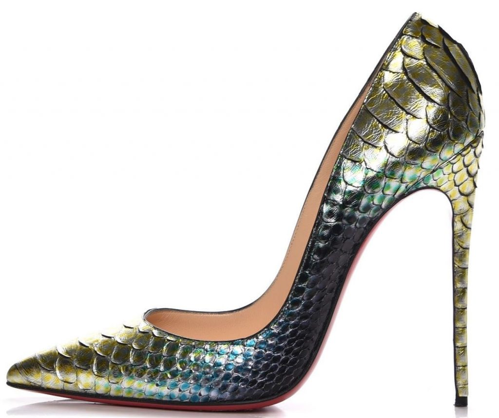 This modern-day Christian Louboutin python-skin pump retails for $1,495 a pair and features a 5-inch heel. (via eBay)