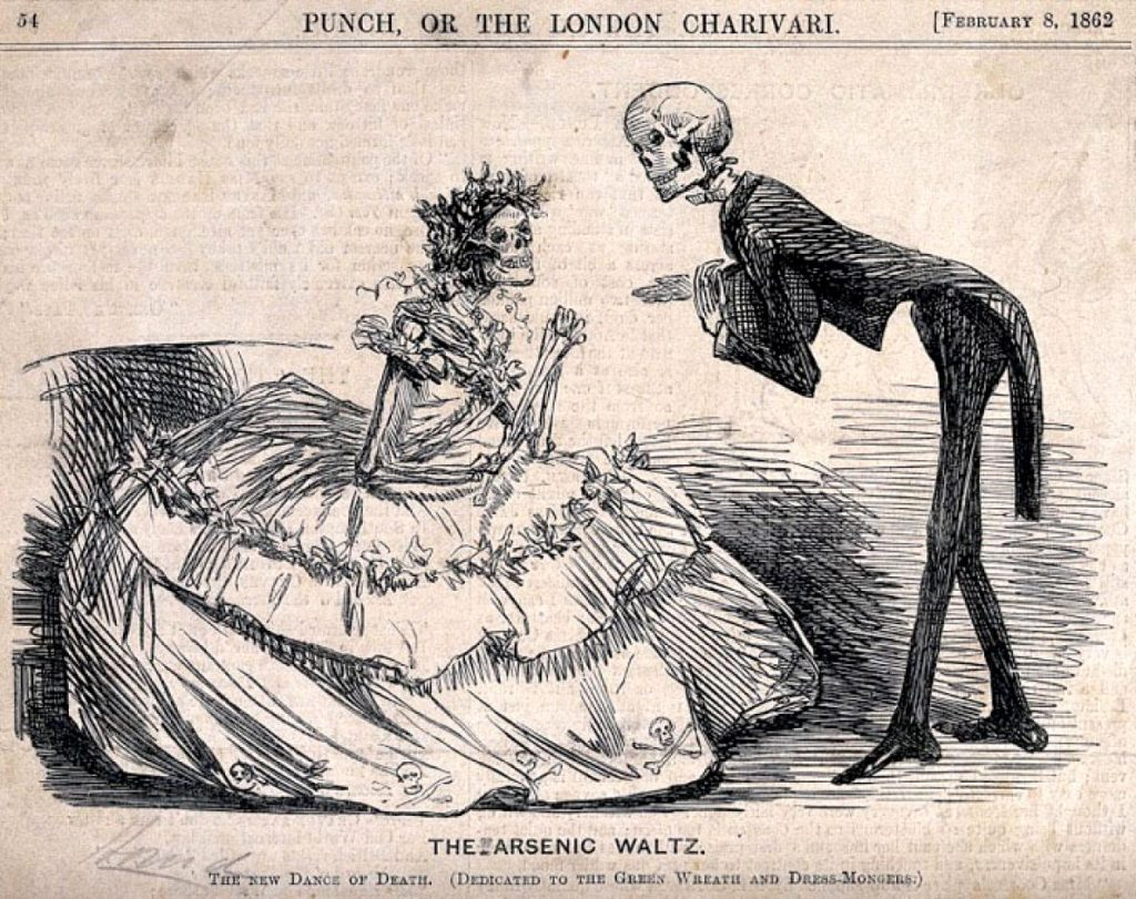 "The British satirical magazine ""Punch, or The London Charivari"" published this cartoon in 1862 criticizing green dresses and artificial plant wreaths made with toxic arsenic."