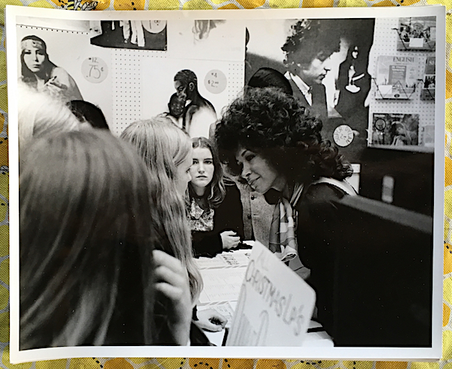Gene Kelley's San Francisco record store, Music 5, circa 1966. Kelley can't remember the name of the Capitol Records singer (right) who was in his store on the day of this photograph, but the Bob Dylan poster behind her was taken from a shot by Eric Weill.