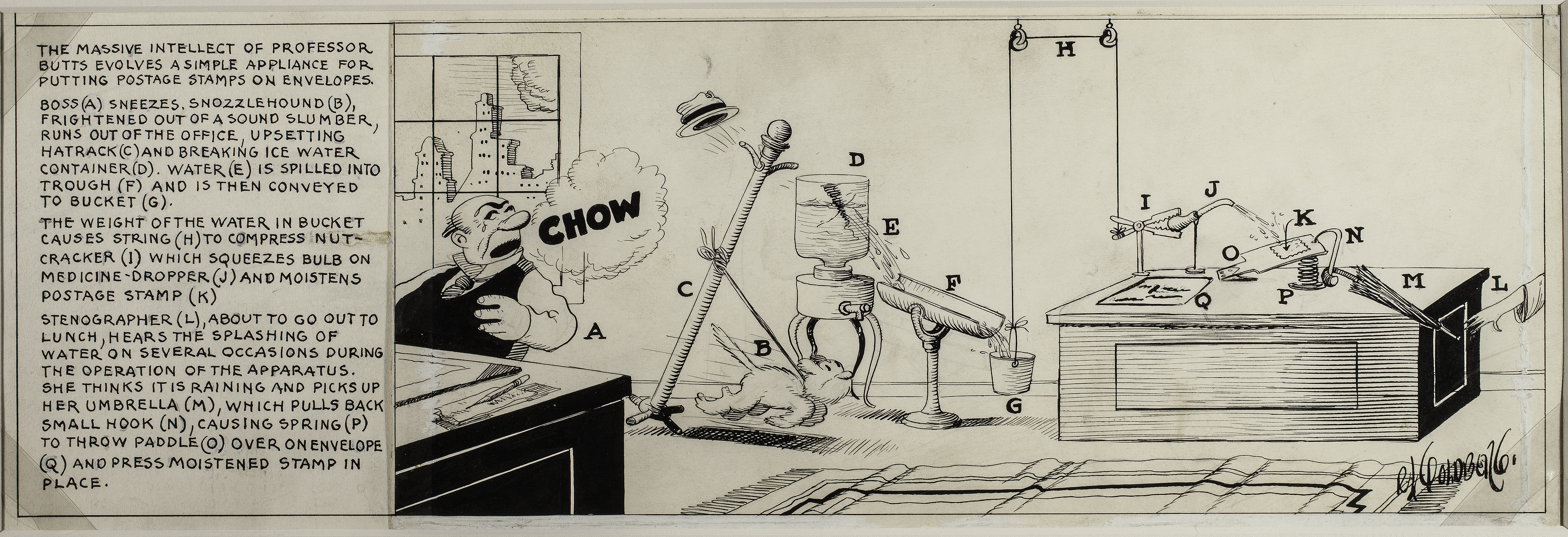 Top: In 1995, a postage stamp honored the life and work of Rube Goldberg. Above: An invention for licking stamps from 1929.